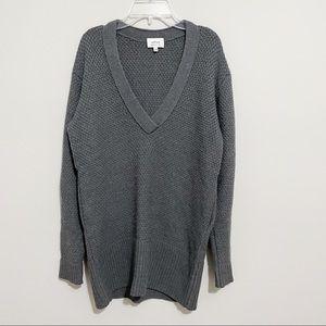 Aritzia Wilfred Gray V Neck Merino Wool Sweater